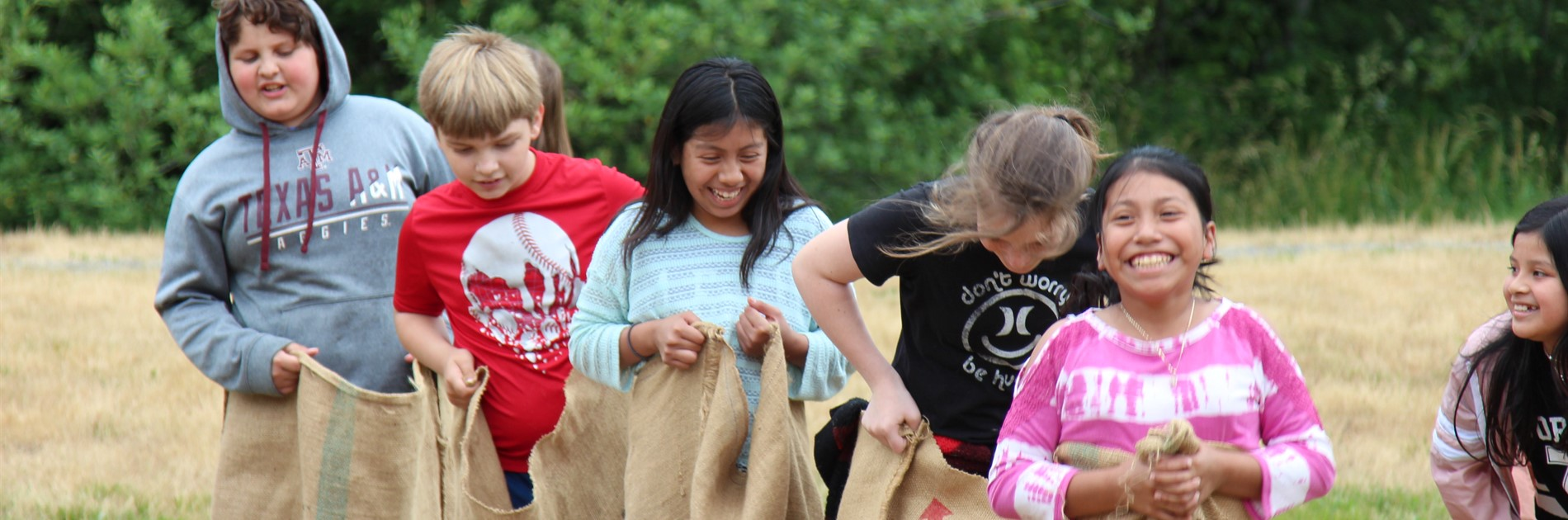 5th graders entering sack race at field day