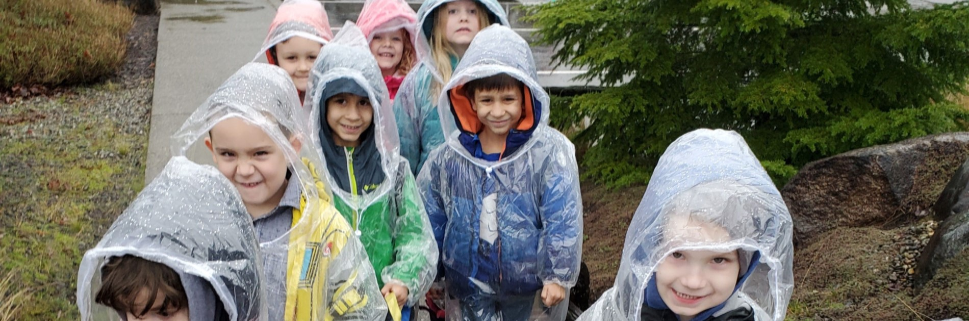 Kindergarteners walking in the rain.