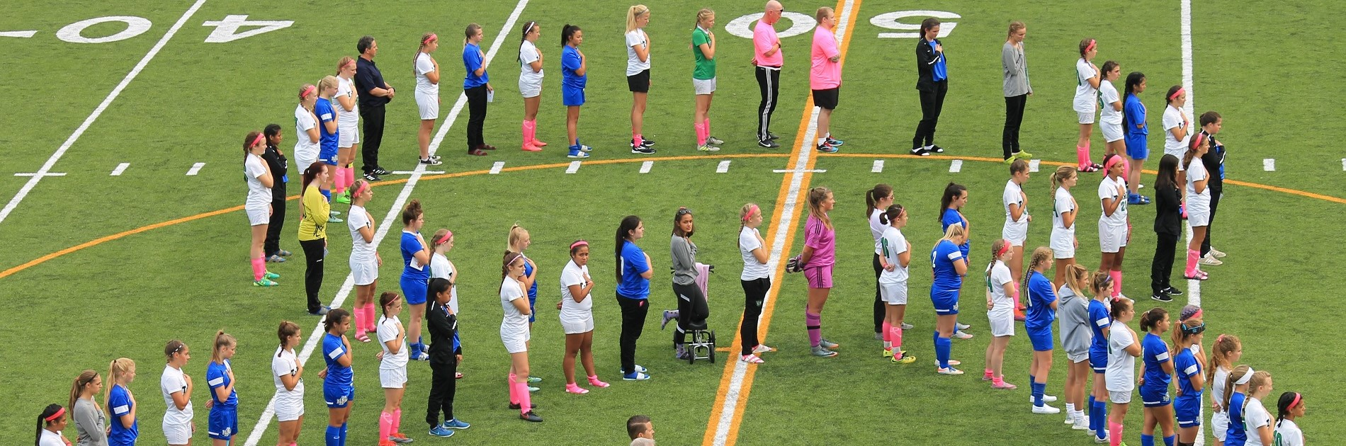 Cancer awareness soccer match between North Mason and Tumwater High School.