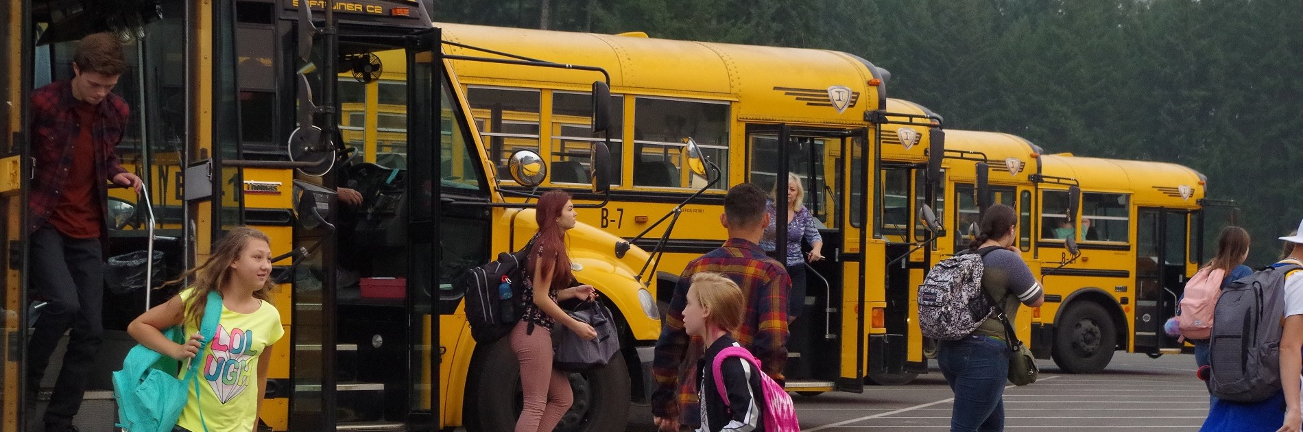 School buses drop students off safely at schools.