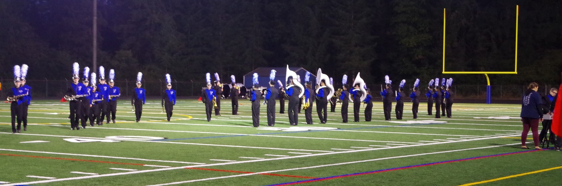 NMHS marching band performs on the field.